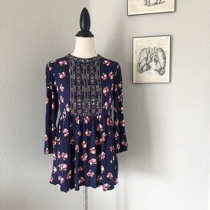 Anthropologie One September Navy Floral Tunic